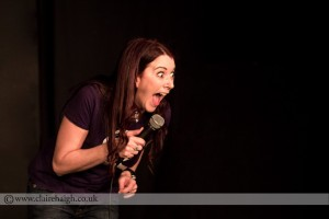 Susan Murray performing at the Red Imp stand up comedy club in East London